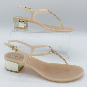Blush Pink Jelly Sandal with Crystals & Gold Heel